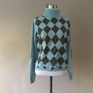 CASHMERE Sweater Apt 9 Blue Argyle  Size ___